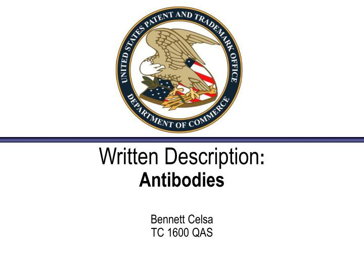 written description antibodies bennett celsa tc 1600 qas n.