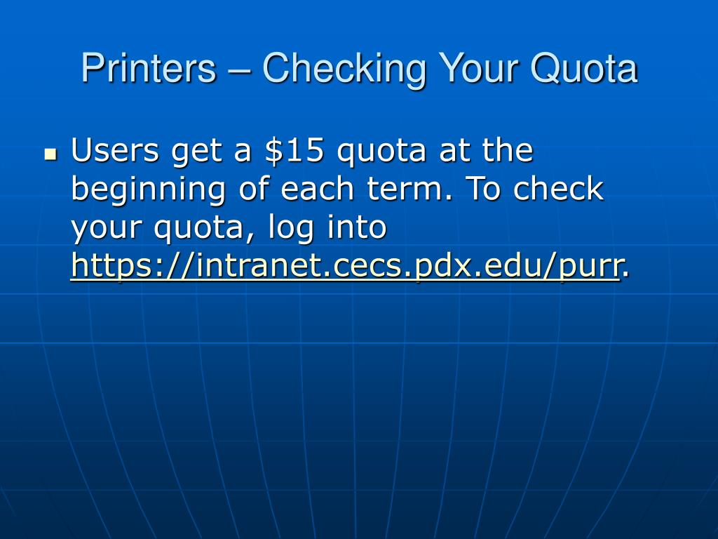 Printers – Checking Your Quota
