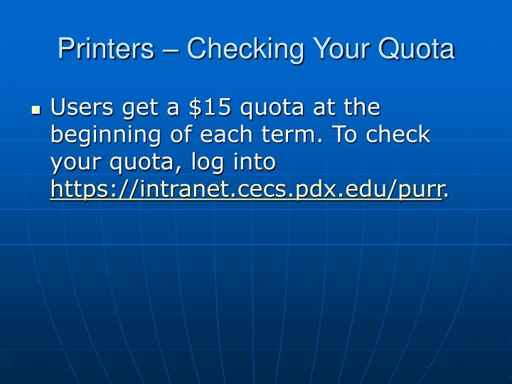 Printers checking your quota