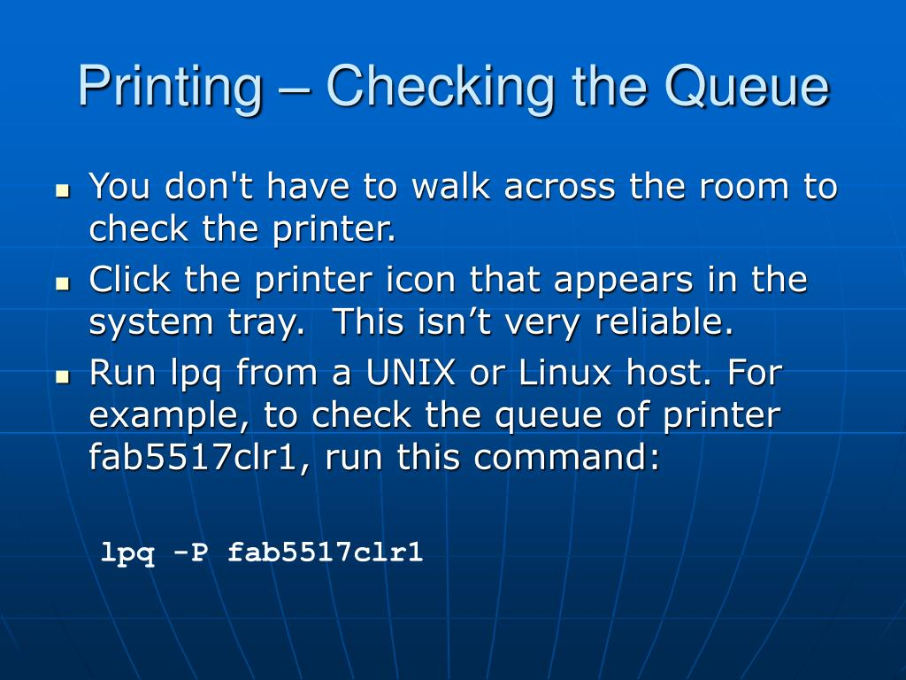 Printing – Checking the Queue