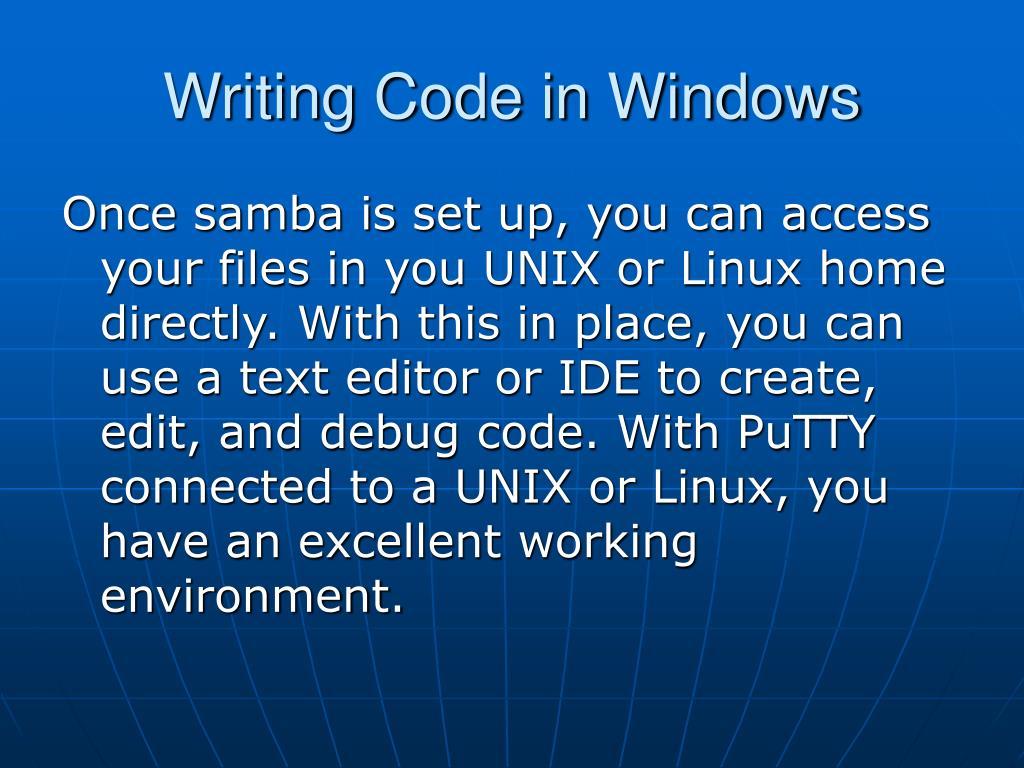 Writing Code in Windows