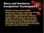 story and sentence completion techniques 2