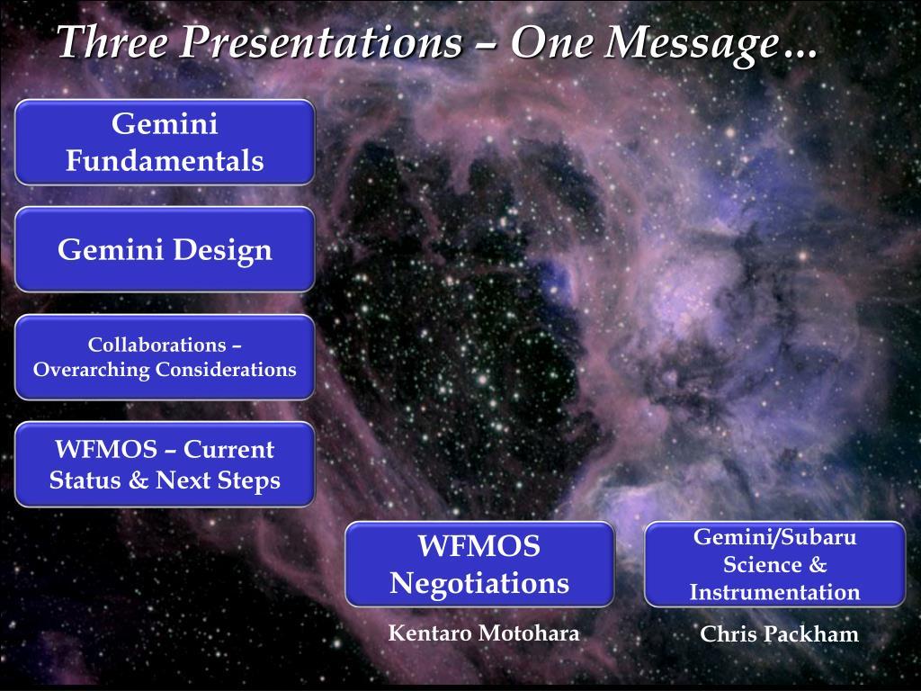 Three Presentations – One Message…