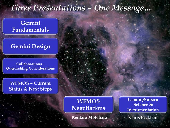 Three presentations one message