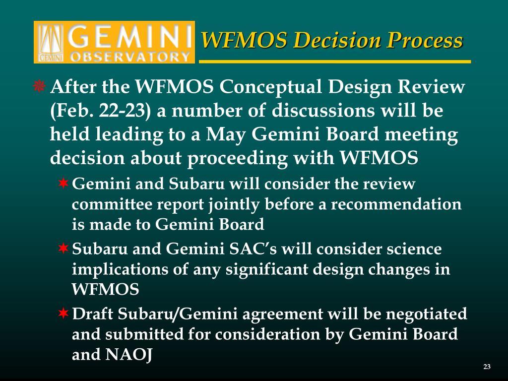 WFMOS Decision Process