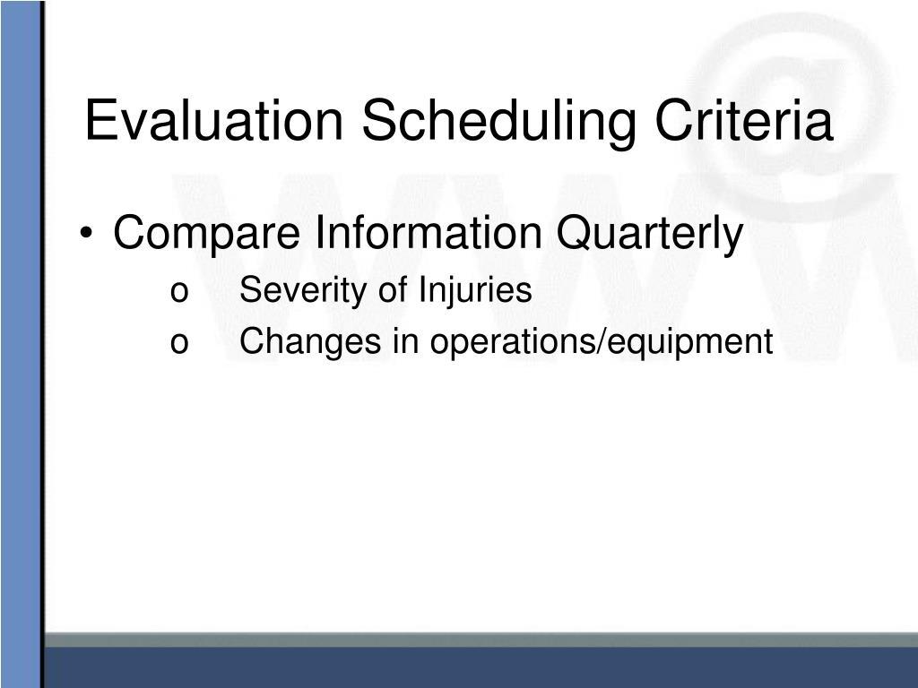 Evaluation Scheduling Criteria