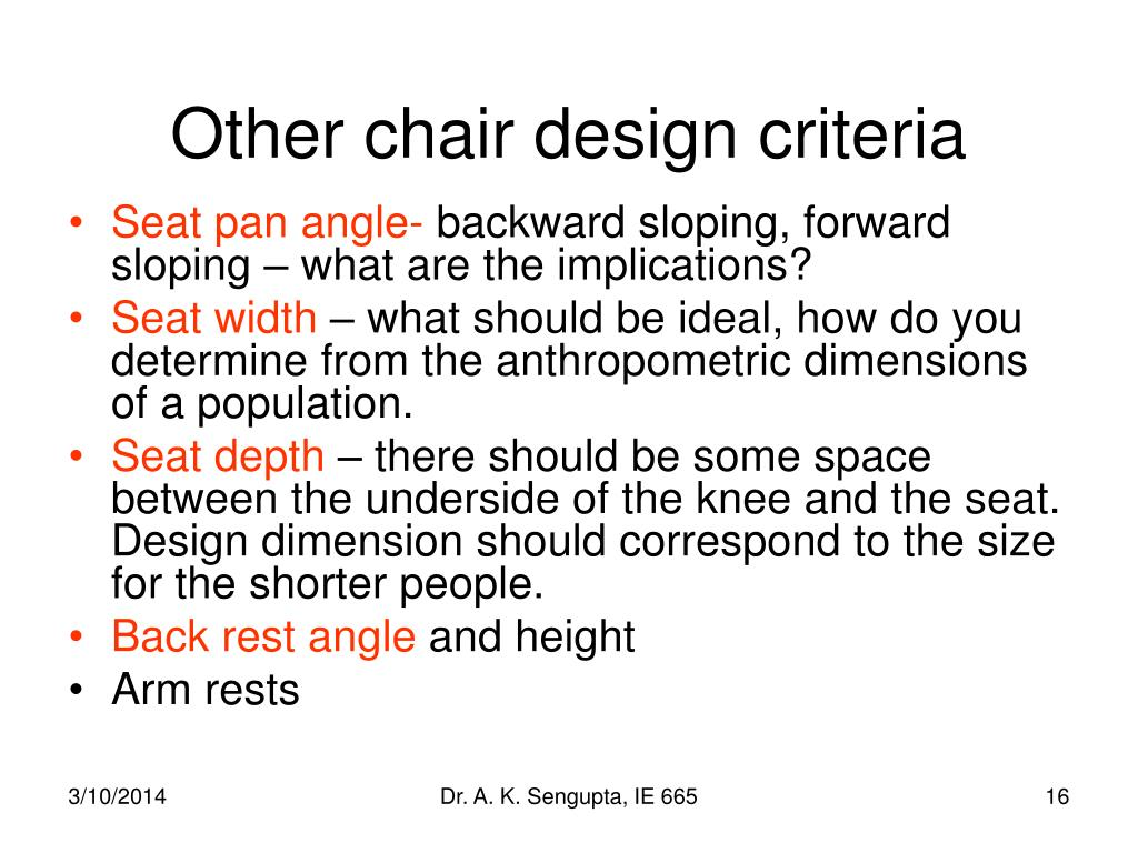 Ppt workstation design chapter 11 powerpoint for Chair design criteria