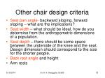 other chair design criteria