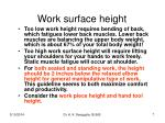 work surface height