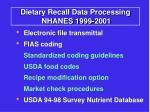 dietary recall data processing nhanes 1999 2001