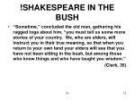 shakespeare in the bush