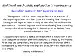 multilevel mechanistic explanation in neuroscience