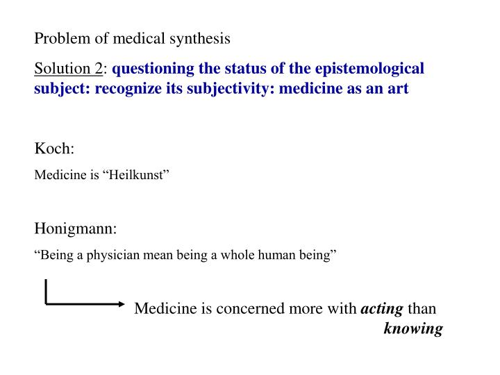 Problem of medical synthesis