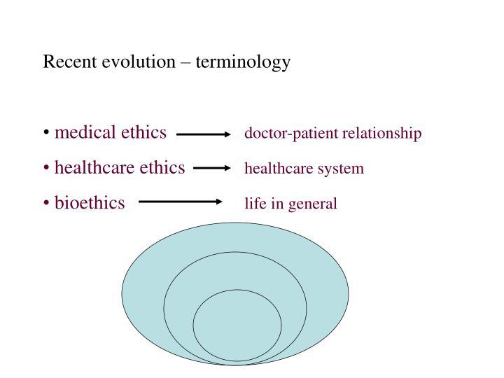 Recent evolution – terminology