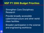 nsf fy 2006 budget priorities