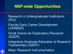 nsf wide opportunities