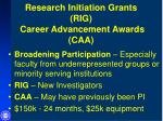research initiation grants rig career advancement awards caa