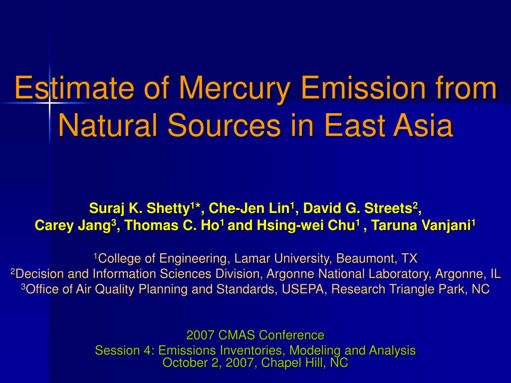 estimate of mercury emission from natural sources in east asia l.