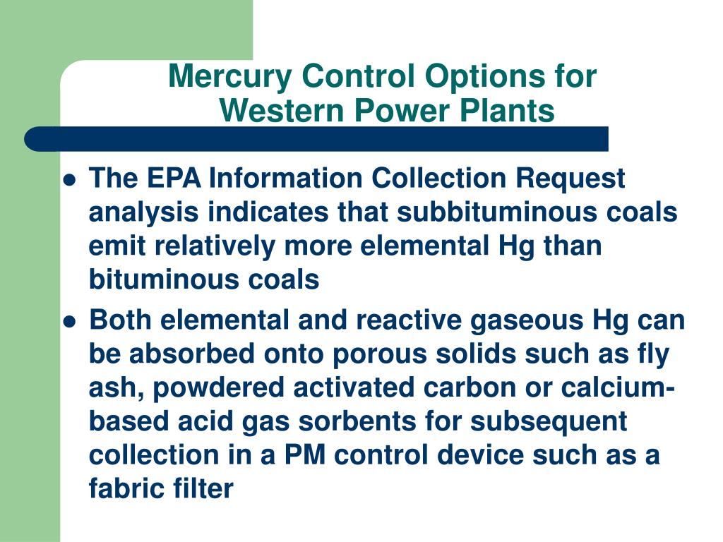 Mercury Control Options for