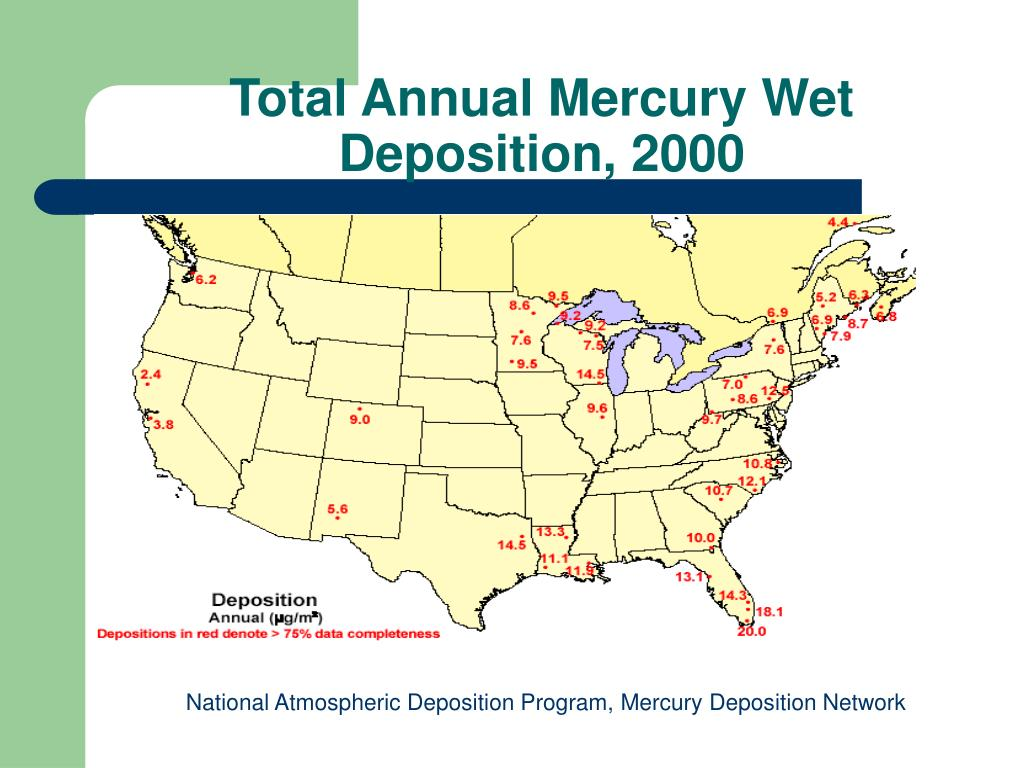 Total Annual Mercury Wet Deposition, 2000