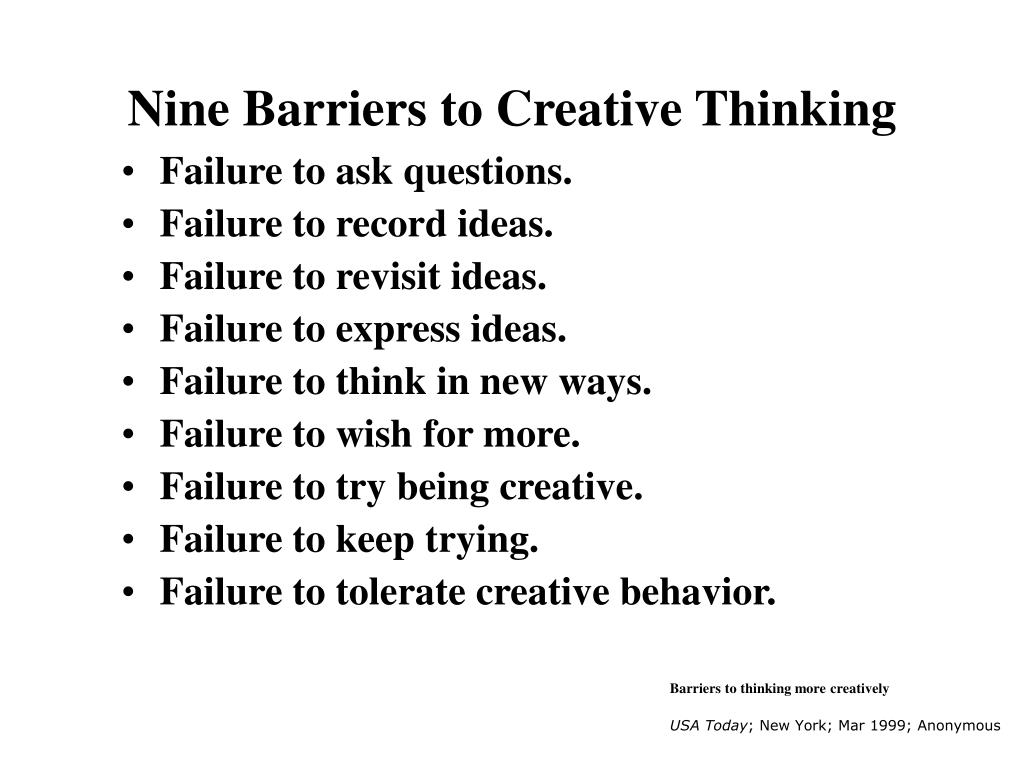 Nine Barriers to Creative Thinking