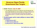 governor signs florida greenhouse gas targets