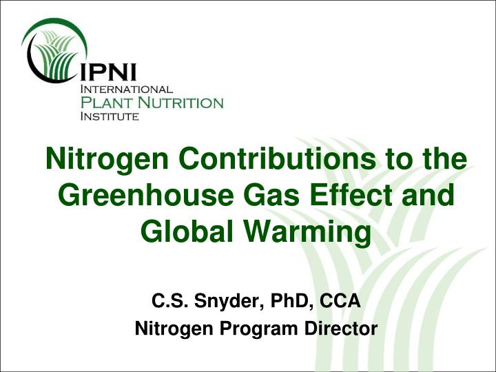 nitrogen contributions to the greenhouse gas effect and global warming n.