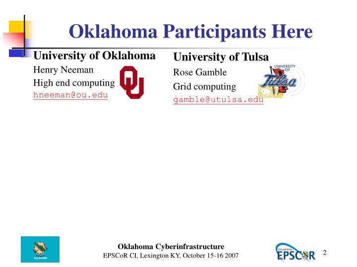 Oklahoma participants here