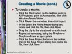 creating a movie cont