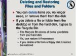 deleting and restoring files and folders