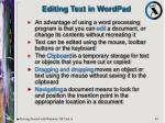editing text in wordpad