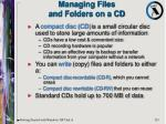 managing files and folders on a cd