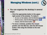 managing windows cont