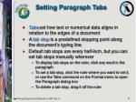 setting paragraph tabs