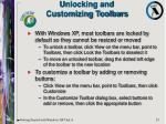 unlocking and customizing toolbars