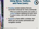 using menus toolbars and panes cont22