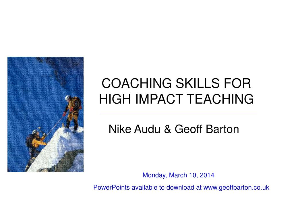 coaching skills for high impact teaching l.