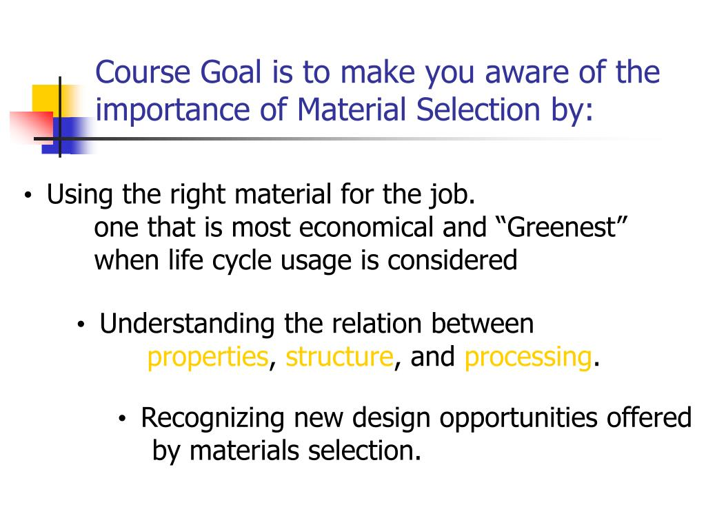 Course Goal is to make you aware of the importance of Material Selection by: