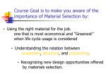 course goal is to make you aware of the importance of material selection by