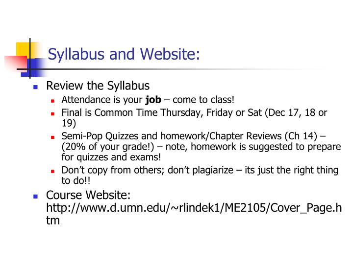 Syllabus and website