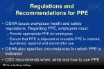 regulations and recommendations for ppe