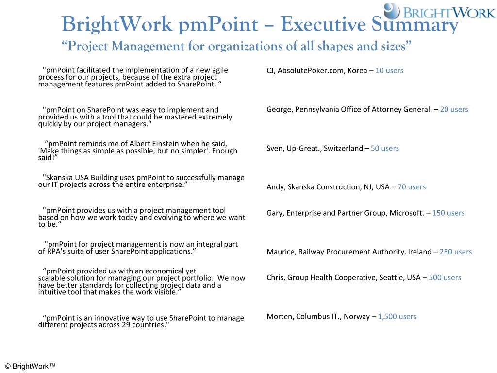 BrightWork pmPoint – Executive Summary