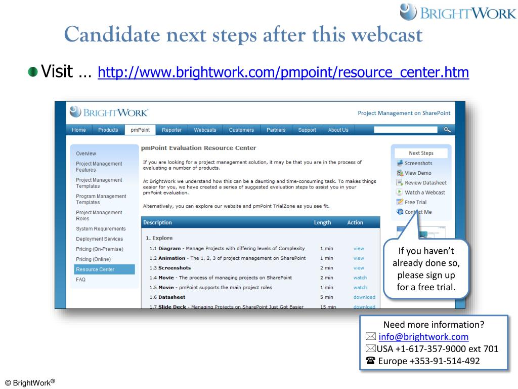 Candidate next steps after this webcast