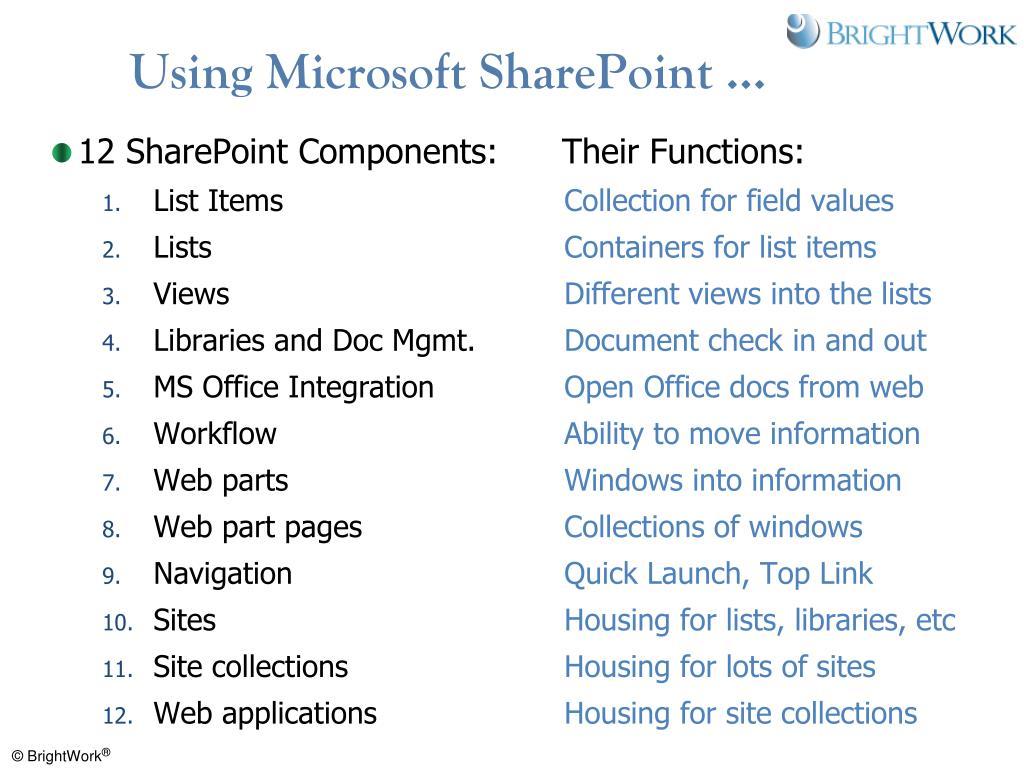 Using Microsoft SharePoint …