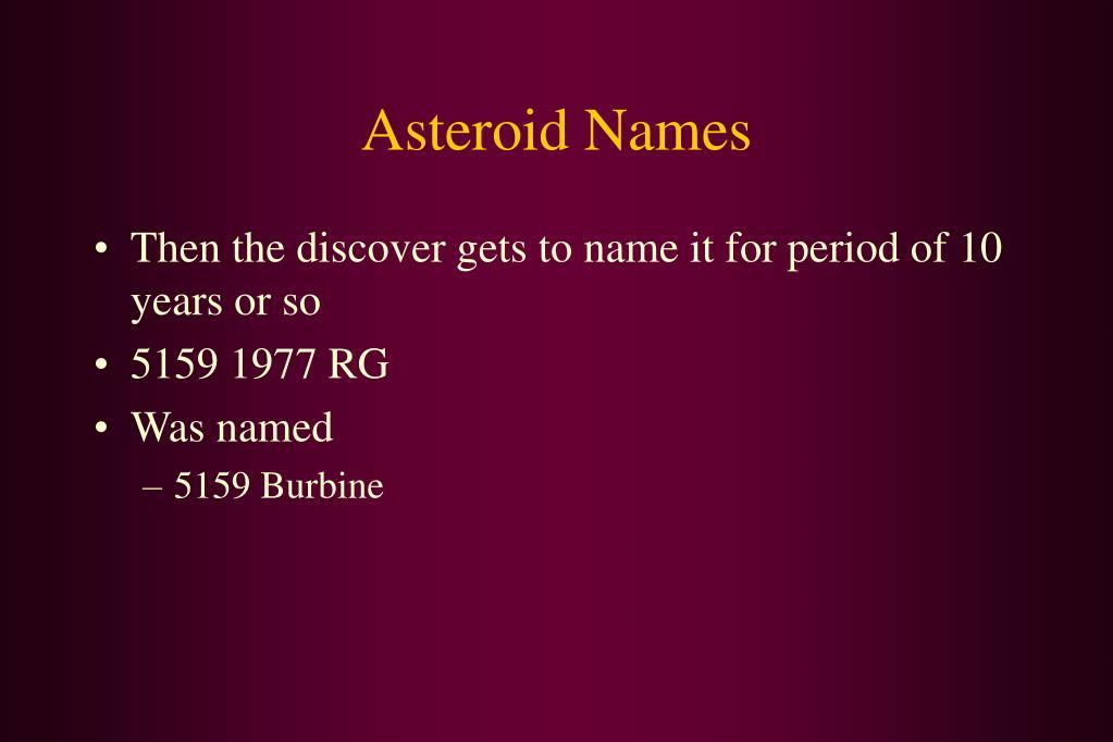 Asteroid Names