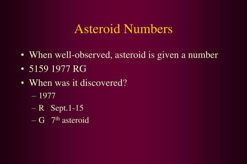 Asteroid Numbers