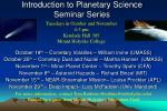 introduction to planetary science seminar series