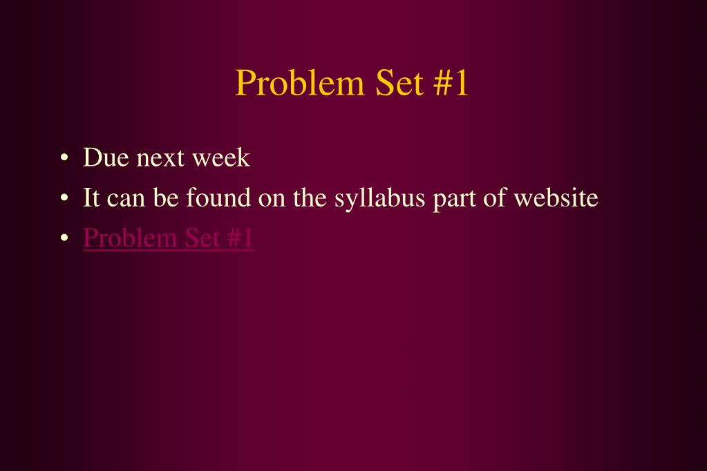 Problem Set #1