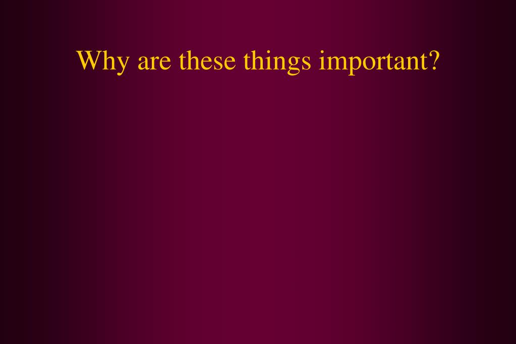 Why are these things important?