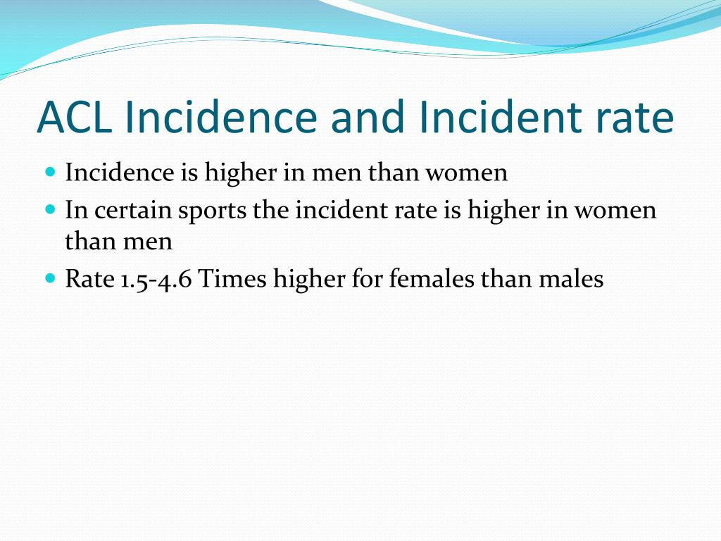 ACL Incidence and Incident rate